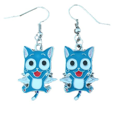 Dangle Earrings Fairy Tail Happy In Gift Box by Superheroes