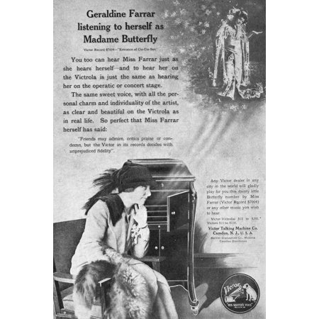 Phonograph 1914 Namerican Magazine Advertisement 1914 For The Victor Talking Machine Company Featuring Opera Singer Geraldine Farrar Poster Print by Granger Collection Victor Talking Machine Company