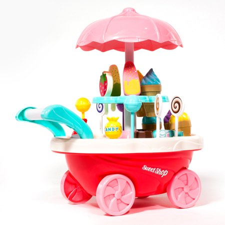 ihubdeal Mini Ice Cream & Candy Cart Toy Pretend Play Set 30-Piece  Ice Cream Trolley, Assorted Play Foods Ice Cream Cones, Popsicles, Candies  Gift