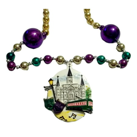 Cathedral, Street Car, Masks, Bourbon St Mardi Gras Beads Party Favor Necklace (Mardi Gras Ball Gowns)