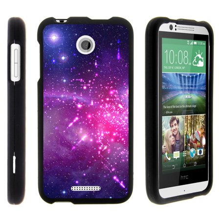 HTC Desire 510, [SNAP SHELL][Matte Black] 2 Piece Snap On Rubberized Hard Plastic Cell Phone Cover with Cool Designs - Heavenly Stars ()