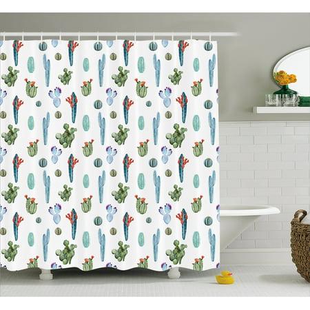 Cactus Decor Shower Curtain, Botany Exotic Nature Themed Pattern ...