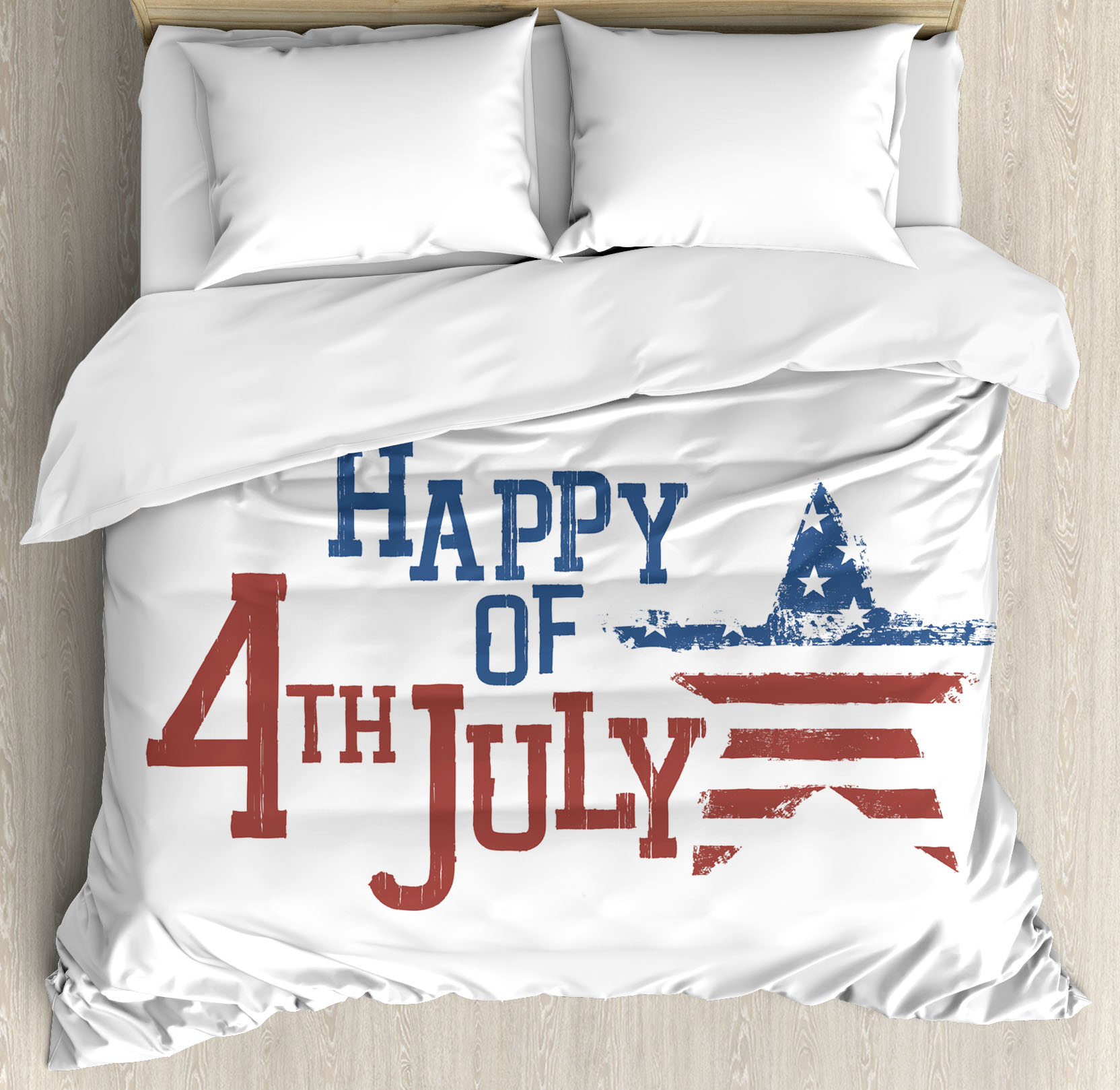 4th of July Decor King Size Duvet Cover Set, Patchwork Style American Stars and Stripes... by Kozmos