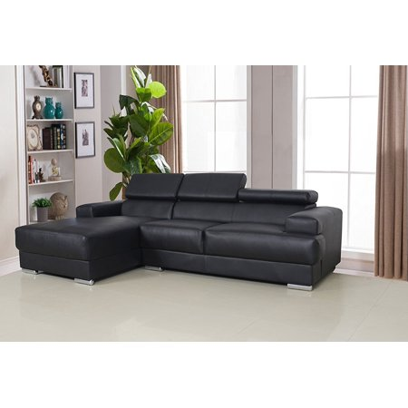 US Pride Furniture Gabriel Contemporary Bonded Leather 2-Pc Left Facing Sectional Sofa Set, Black, S0063