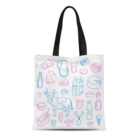 SIDONKU Canvas Bag Resuable Tote Grocery Shopping Bags Bell Dairy White Beverage Bottle Breakfast Butter Cheese Cottage Cow Tote (Beverage Non Dairy Grocery)