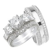 His And Hers High Quality CZ Wedding Ring Set Matching Sterling Silver Bands For Him