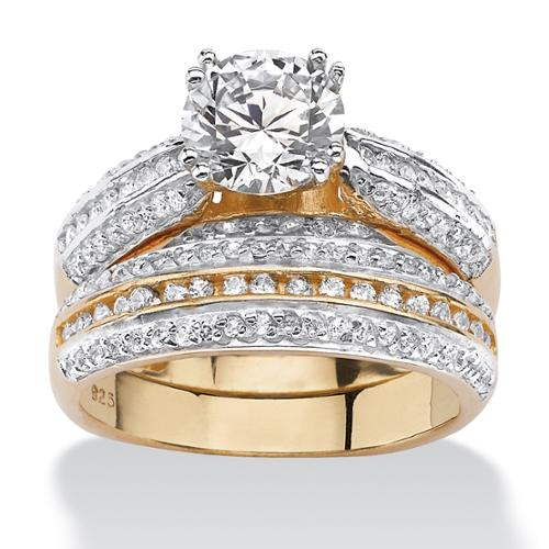 PalmBeach 2.55 TCW Cubic Zirconia Two-Piece Bridal Set in18k Gold over Sterling Silver Classic CZ Size 7