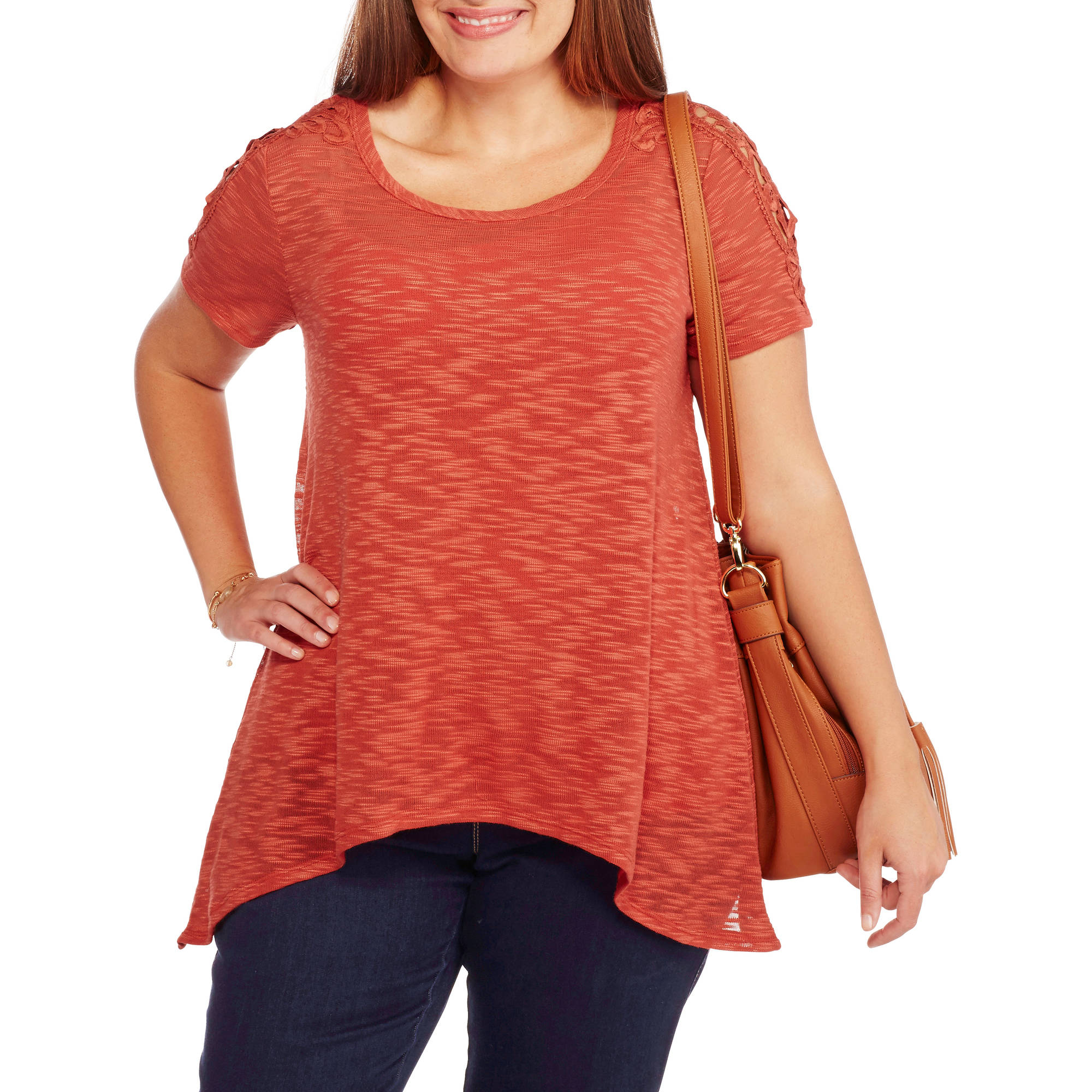 Absolutely Famous Women's Plus Short Sleeve Knit Top with Sharkbite Hem and Medallion Lace Trim