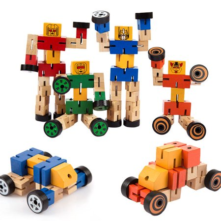 - Kids Cool Wooden Transformer Deformable Toy, Wooden Magic Cube Robot Car People Change Toy - Color Random