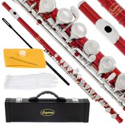 Lazarro 120-RD Professional Red-Silver Closed Hole C Flute with Case, Care Kit-Great for Band, Orchestra,Schools