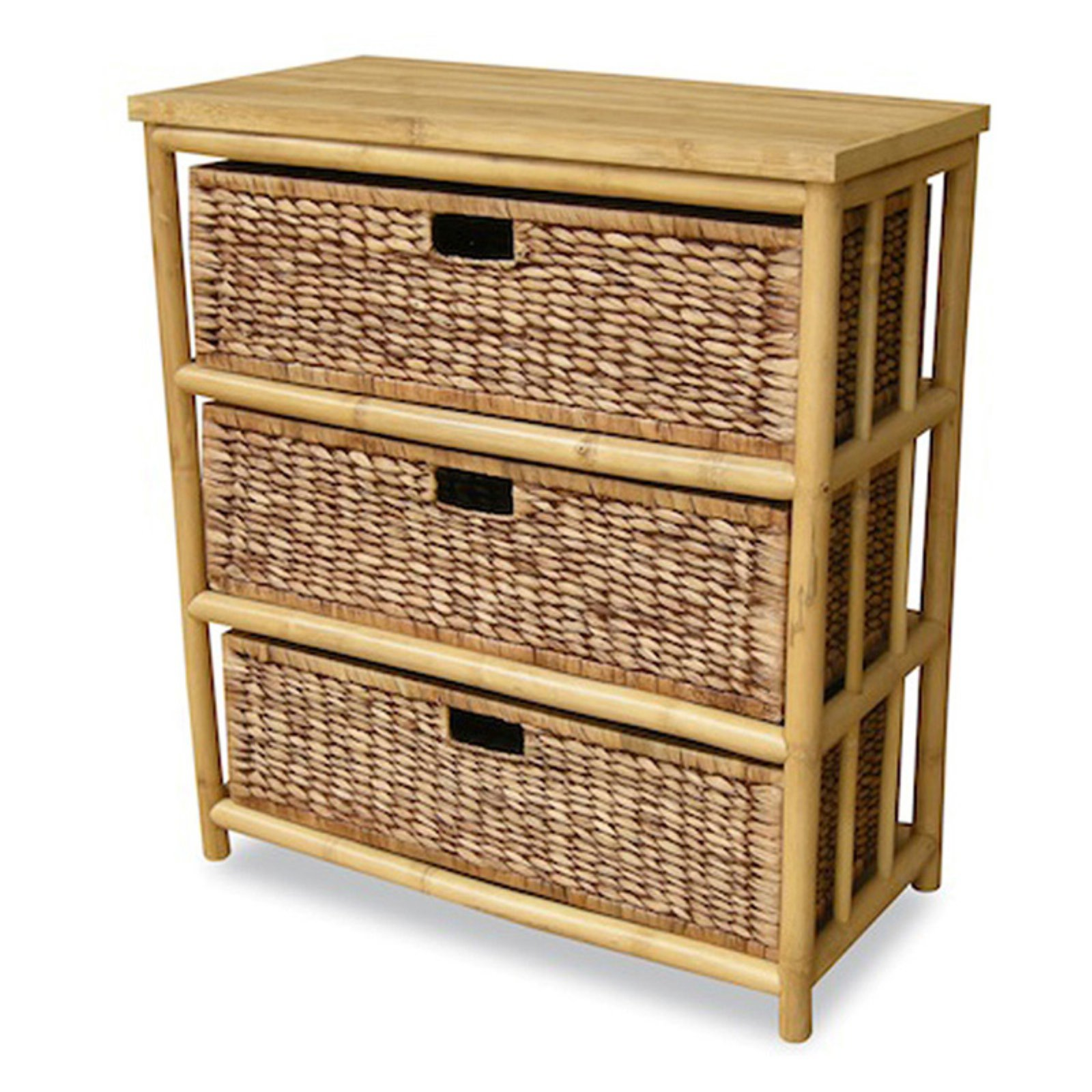 Heather Ann Creations Kona 3 Drawer Open Sided Bamboo Storage Cabinet