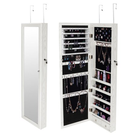 Ktaxon Mirrored Hanging Jewelry Cabinet Armoire Organizer Over Door Wall Mount W/ LED Light