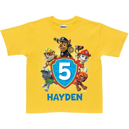 Personalized PAW Patrol Birthday Yellow T Shirt