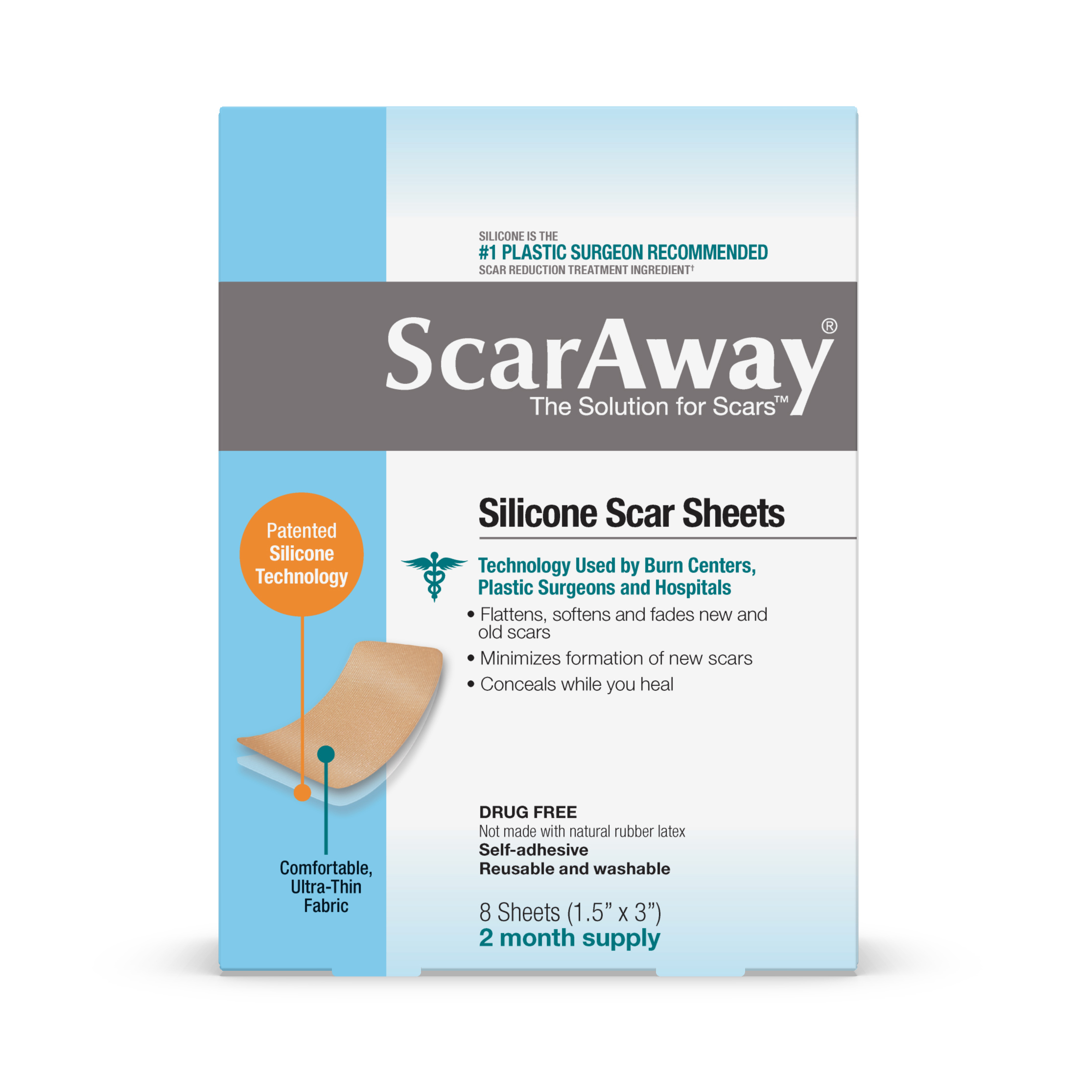 ScarAway Silicone Scar Sheets, 8 Sheets, 2 Month Supply