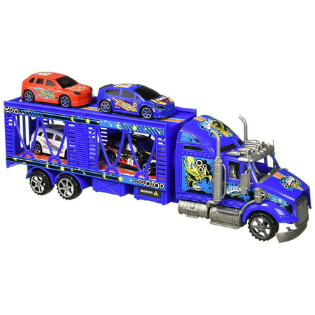 Car Transporter Semi Trailer Friction Toy Truck Ready To Run w/ 4 Extra Toy Cars (Colors May Vary)