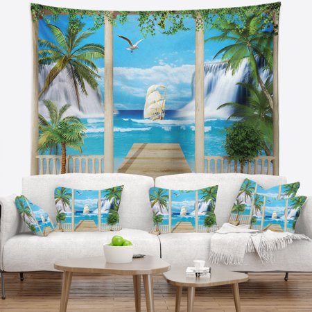 View Terrace - DESIGN ART Designart 'Wooden Terrace with Sea View' Landscape Photography Wall Tapestry