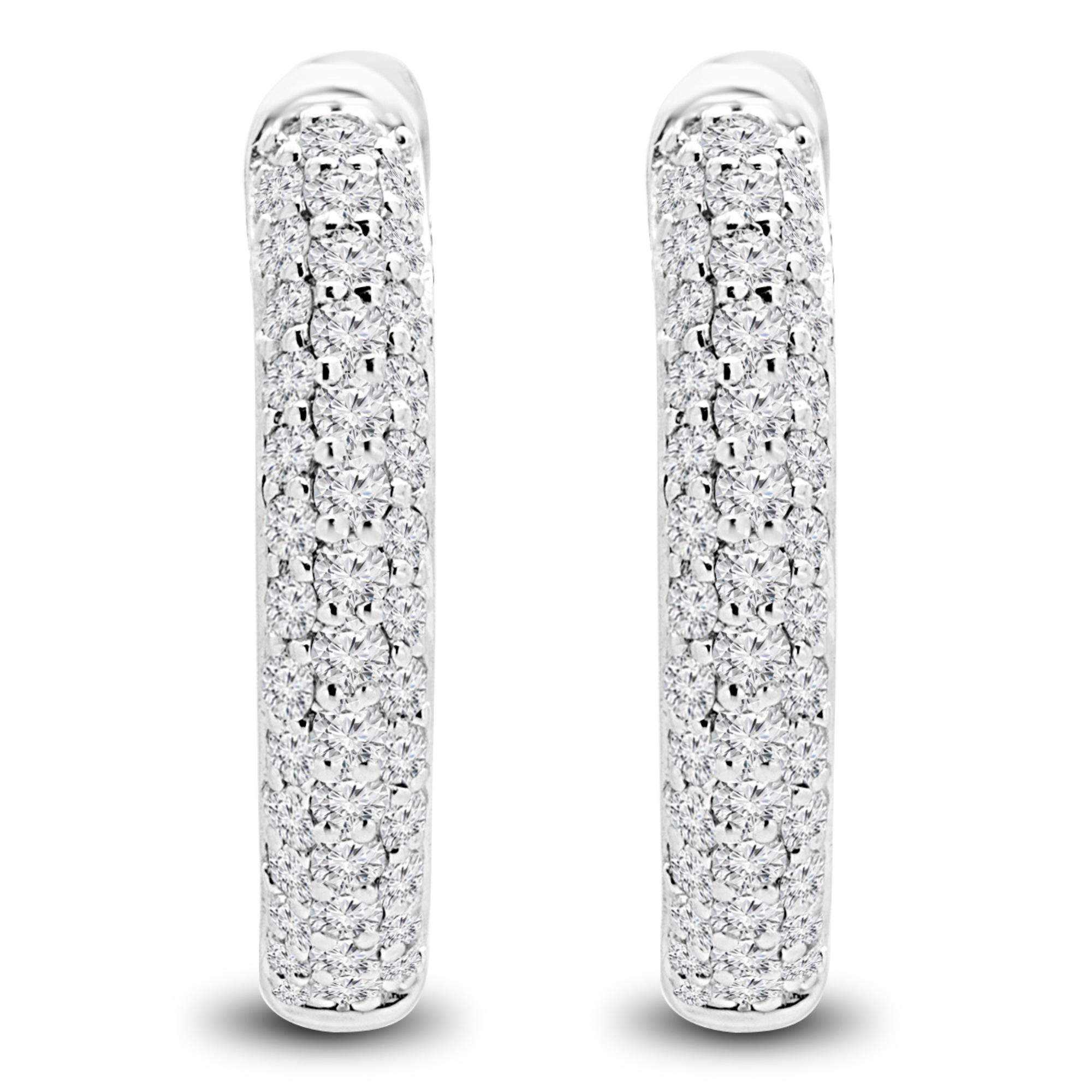1/2 CTW Round Diamond Hoop Earrings in 14K White Gold (MDR170116) - image 1 de 2