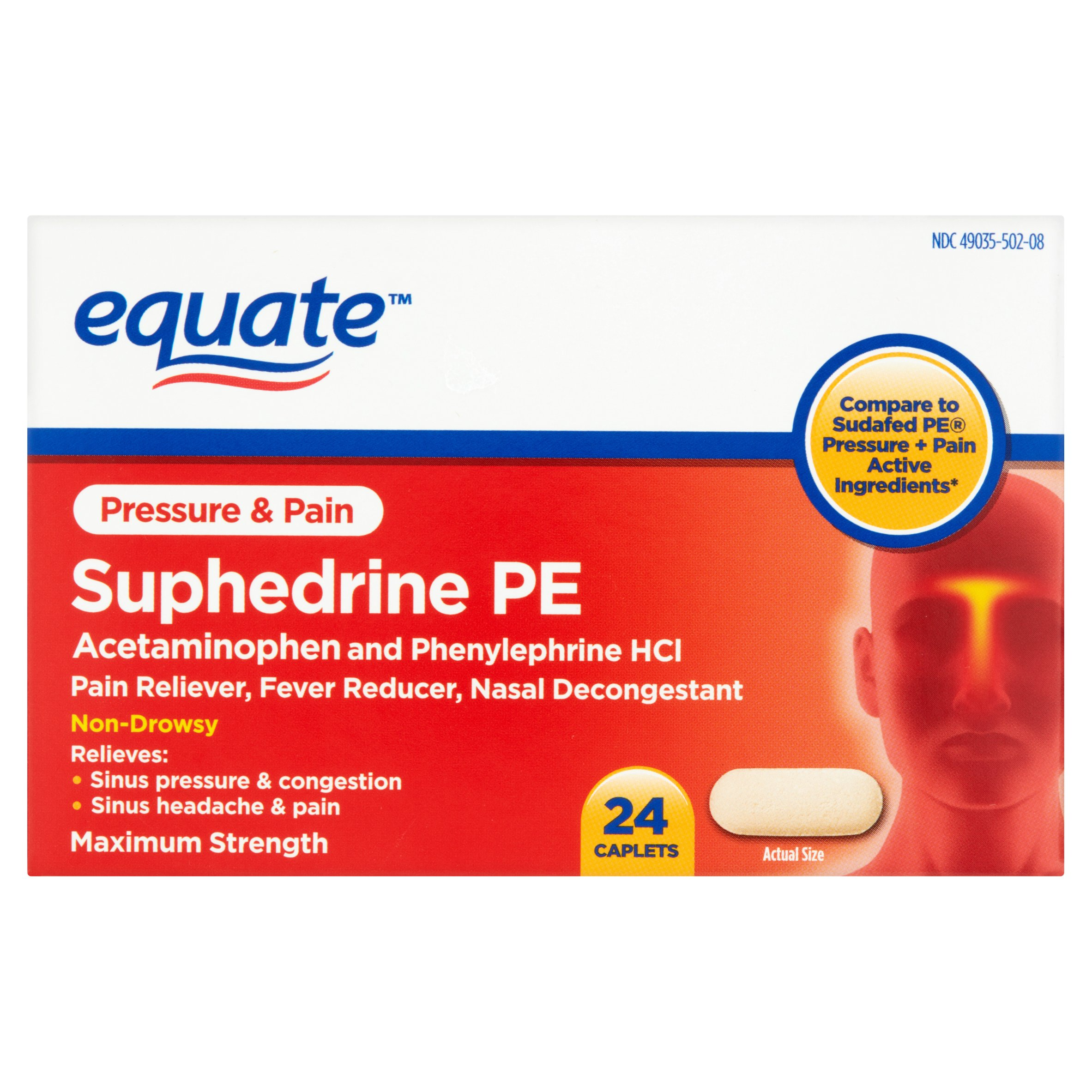 Equate Pressure & Pain Suphedrine PE Caplets, 5 mg, 24 Ct