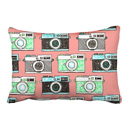 WinHome Green Black Gray Cameras Patterns Pink Pillow Cover With Hidden Zipper Decor Cushion Two Side 20x30
