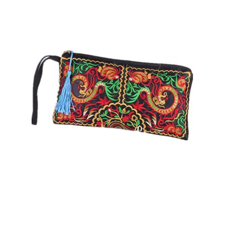 Women Ethnic Embroidered Retro Boho Wristlet Clutch Bag Handmade Purse - Hand Embroidered Checkbook Wallet