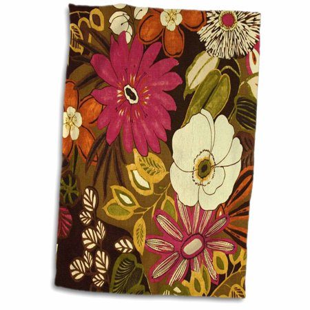 3dRose Late Summer Maroon n Olive Green Floral - Towel, 15 by