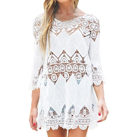 EFINNY Women's Hollow Out Bikini Cover Up Lace Beach Dress - Tiniest Bikinis Ever