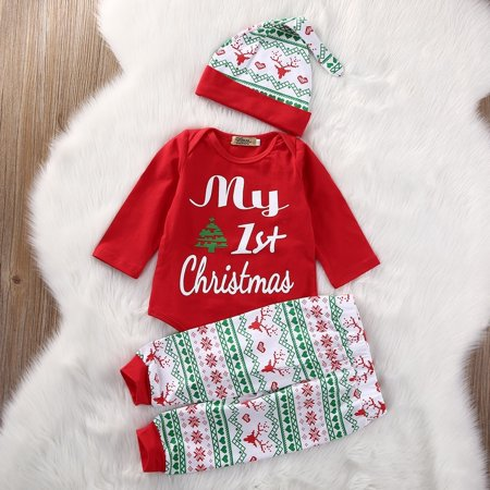 Xmas Newborn Baby Girls My First Christmas Clothes Romper +Pants Hat Outfits Set 3PCS Babys 1st Christmas Outfit