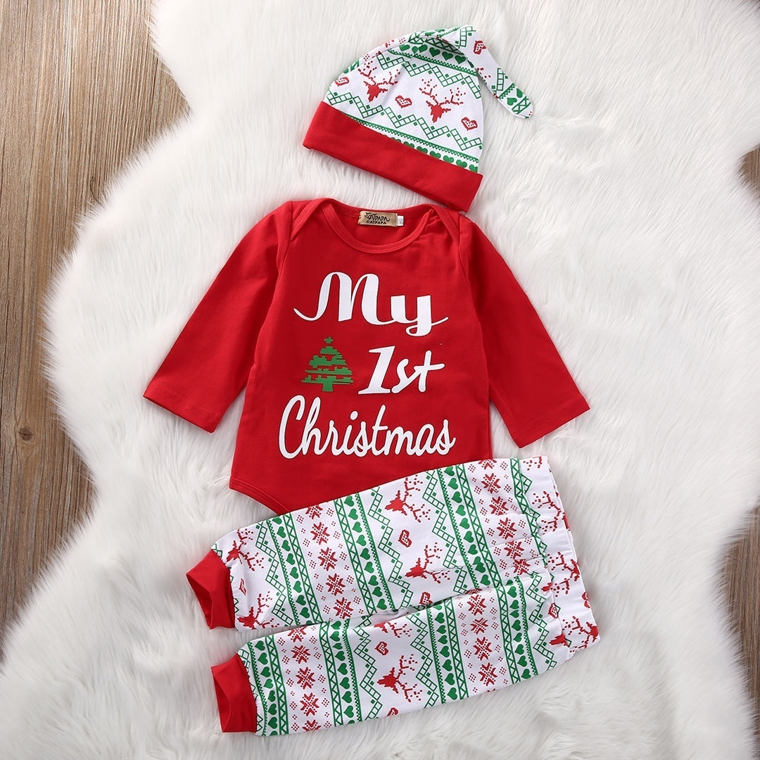 Xmas Newborn Baby Girls My First Christmas Clothes Romper +Pants Hat Outfits Set 3PCS