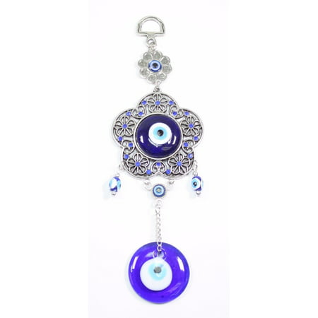 Turkish Blue Evil Eye Round Flower Shape Amulet Wall Hanging Decor Protection -D