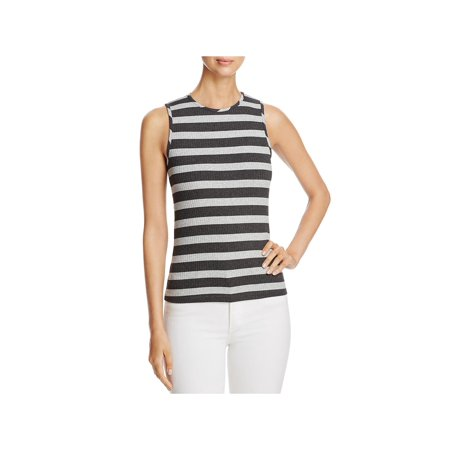 Three Dots Womens Extended Shoulders Striped Tank Top