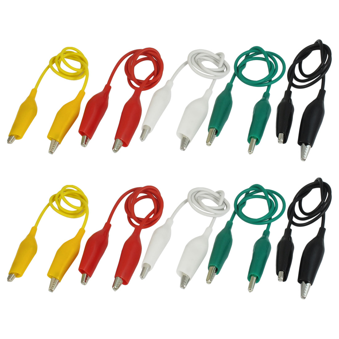 "10 Pcs 20"" Double-ended Alligator Clips Test Lead Jumper Wire 50cm 5 Color"