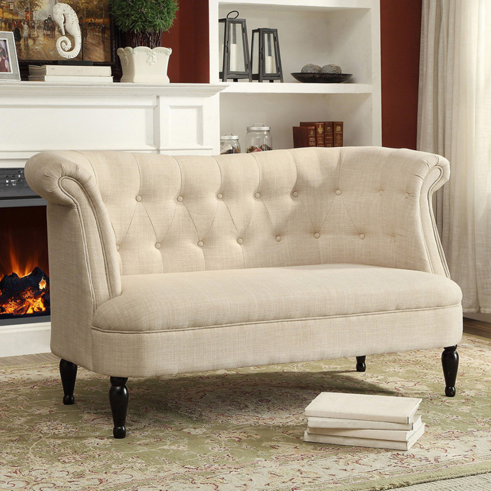 Baxton Studio Erica Victorian Style Contemporary Beige Linen Fabric Upholstered Button-Tufted 2-Seater Loveseat