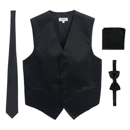 Men's Formal Vest Set, Bowtie, Tie, Pocket Square ()