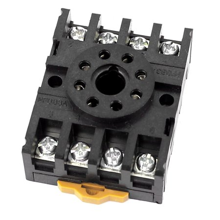 PF083A 12A  300V 8 Round Pin Rail Mount Power Relay Socket (Round Rail Base)