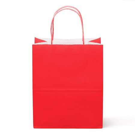Red Paper Bags (Medium Red Paper Gift Bags with Handles  - Pack of)