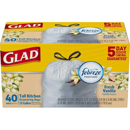 Glad Tall Drawstring Kitchen Trash Bags, 13 Gallon, Fresh Vanilla Scent, White 40 ea (Pack of 2) 13 Gallon Case Pack