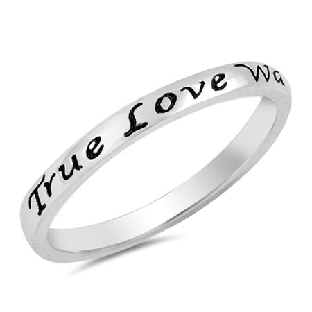 True Love Waits Heart Script Ring .925 Sterling Silver Promise Band Size 4 Silver Script Name Ring