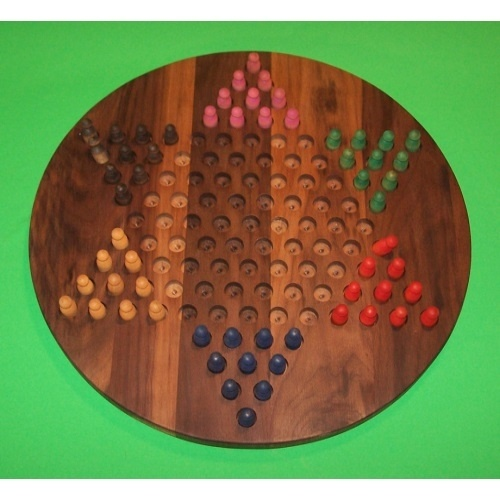THE PUZZLE-MAN TOYS W-1926.5 PEG 18 in. Circle Oiled Chinese Checkers Wooden PEG Game Board - Black Walnut - image 1 de 1