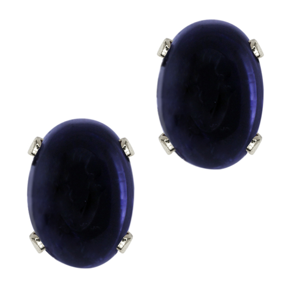 1.77 Ct Oval Cabouchon Blue Iolite 925 Sterling Silver Stud Earrings