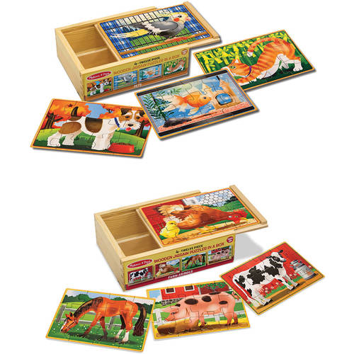 Melissa & Doug Animals 4-in-1 Wooden Jigsaw Puzzles Set, Pets and Farm by Generic