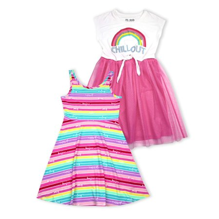 Rainbow Tie Front Tulle and Jersey Skater Dresses, 2-Pack (Little Girls & Big Girls) - Dresses From Great Gatsby