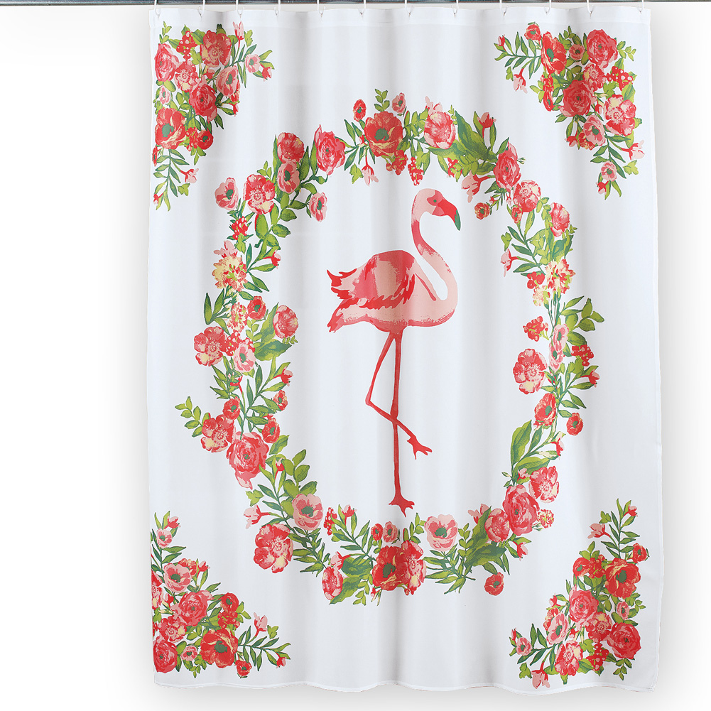Pink Flamingo Tropical Decor Floral Botanical Bathroom Shower Curtain