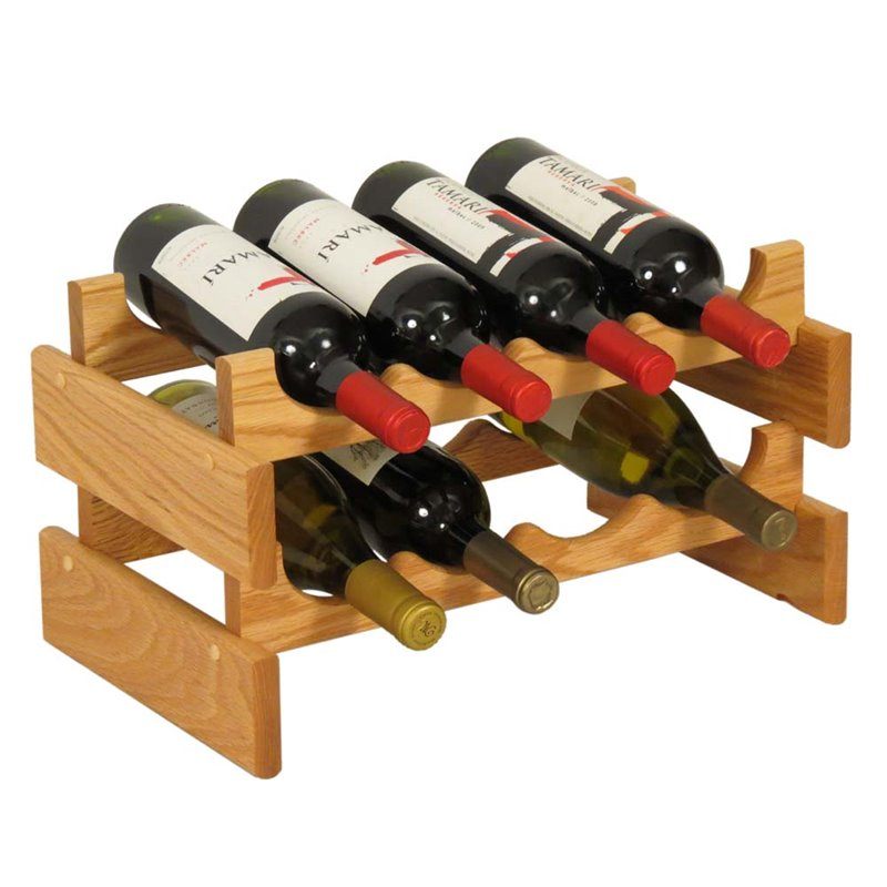 Wooden Mallet Dakota 2 Tier 8 Bottle Wine Rack in Light Oak