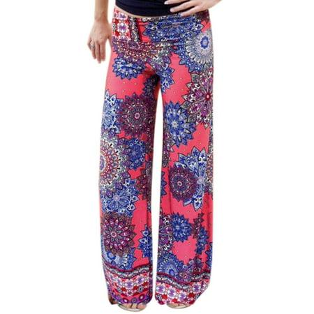 Womens Floral Prints Elastic Waist Wide Leg Casual Pants Hot Pink L