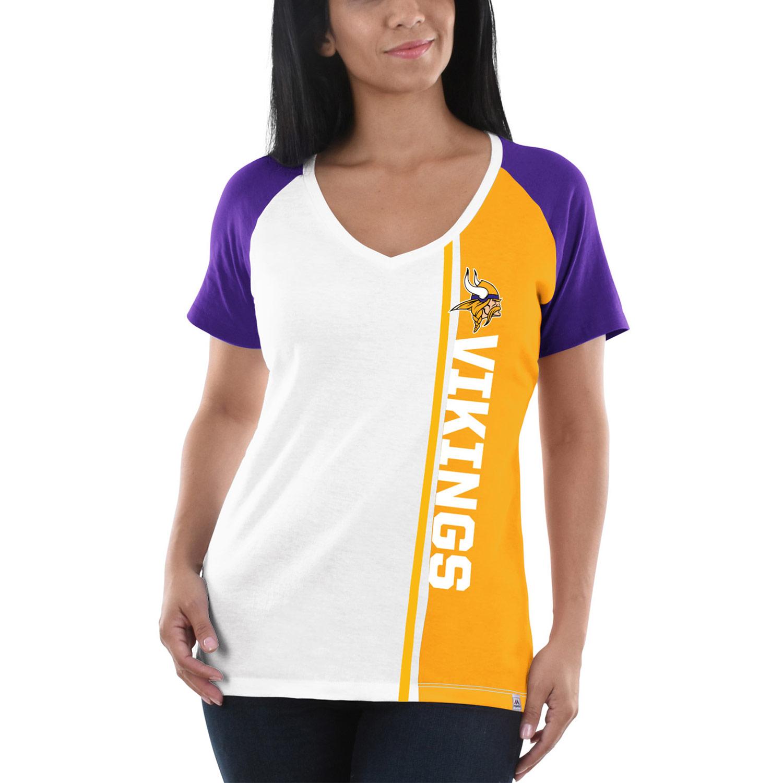 Minnesota Vikings Majestic Women's The Highlight V-Neck T-Shirt - White/Purple