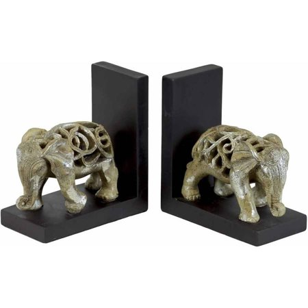 Urban Trends Collection: Resin Elephant Bookend, Glaze Finish, Champagne