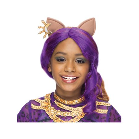 Girls Clawdeen Purple Wolf Wig With Ears Costume Accessory