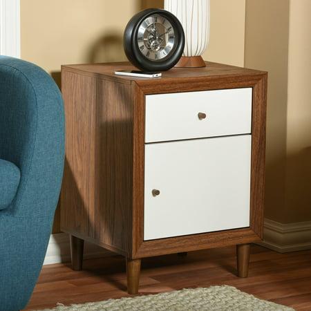 super popular 41b49 dd33e Baxton Studio Harlow Mid-Century Modern Scandinavian Style White and Walnut  Wood 1-Drawer and 1-Door Nightstand