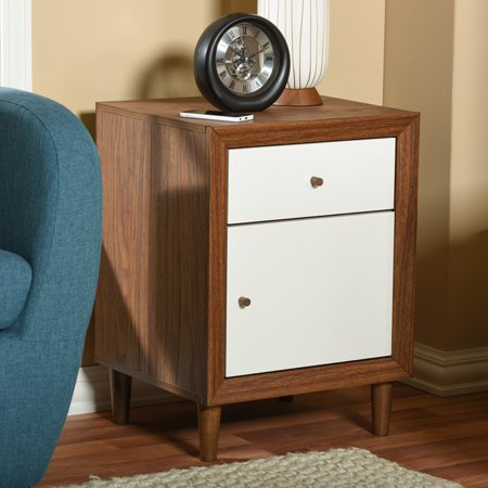 Baxton Studio Harlow Mid-Century Modern Scandinavian Style White and Walnut Wood 1-Drawer and 1-Door Nightstand ()