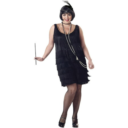 Flapper Fashion Dress Adult Halloween Costume (Halloween Costumes With Long Black Dresses)